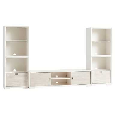 Callum Super Media Set, 2 One-Drawer + 2 Cubby + Media Unit, Weathered White/ WB Simply White - Pottery Barn Teen