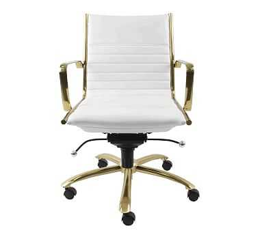 Fowler Low Back Desk Chair, White/Gold - Pottery Barn