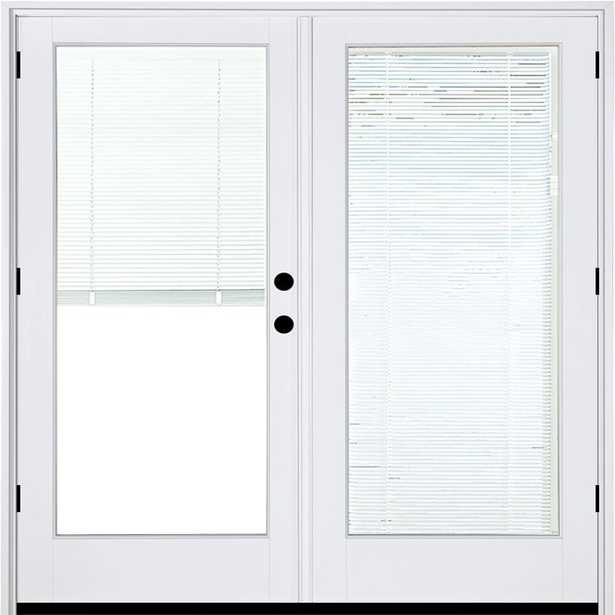 MP Doors 72 in. x 80 in. Fiberglass Smooth White Left-Hand Outswing Hinged Patio Door with Low E Built in Blinds, Smooth White Exterior And Interior - Home Depot