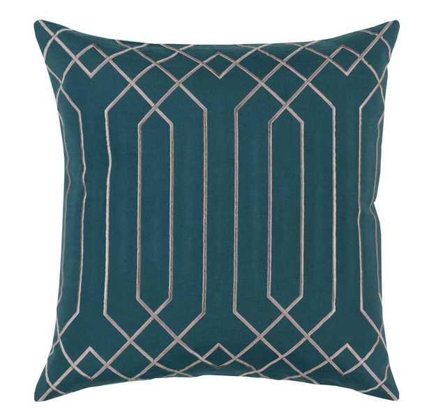 Jillian Hollywood Regency Linen Down Teal Pillow - 20x20 - Kathy Kuo Home