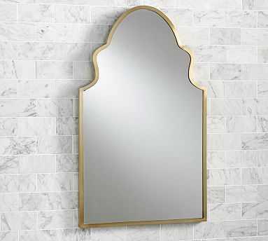 "Stella Powder Room Mirror, 22 x 36"", Brass - Pottery Barn"