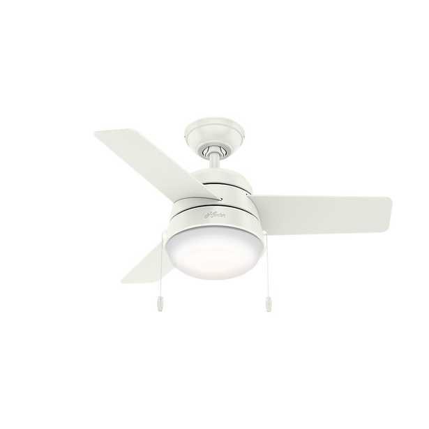 Hunter Aker 36 in. LED Indoor Fresh White Ceiling Fan with Light - Home Depot
