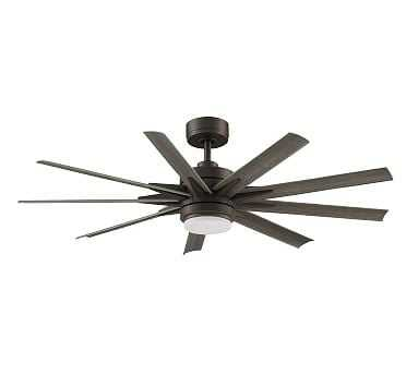 """Odyn 56"""" Indoor/Outdoor Ceiling Fan, Matte Greige with Weathered Wood Blades - Pottery Barn"""