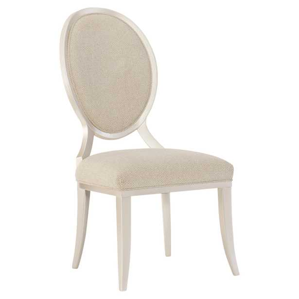 Marie French Country Beige Upholstered Oval Back Dining Side Chair - Set of 2 - Kathy Kuo Home