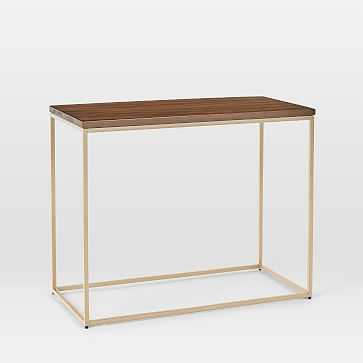 Streamline Side Table, Dark Walnut, Light Bronze - West Elm