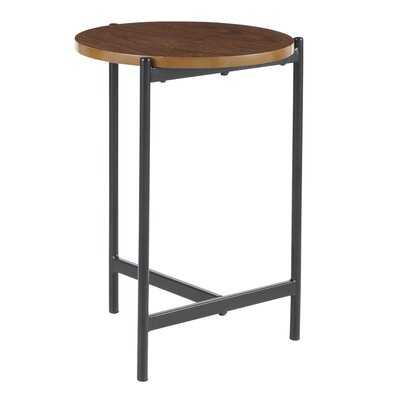 Ealing Contemporary Side Table in Chrome with Black Glass, Walnut Wood - Wayfair