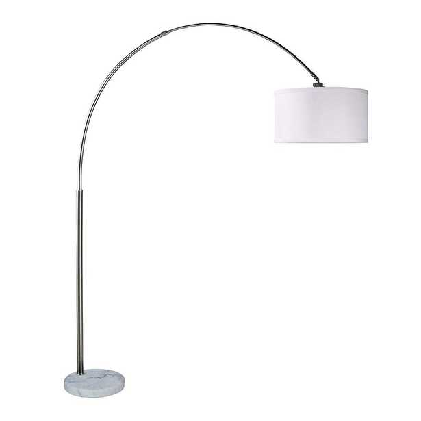 Major-Q Bull 81 in. White/Silver Indoor Floor Lamp with Extra Large Drum Shade - Home Depot