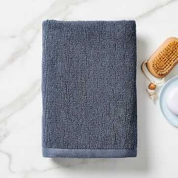 Organic Textured Towel, Bath Towel, Granite Blue - West Elm