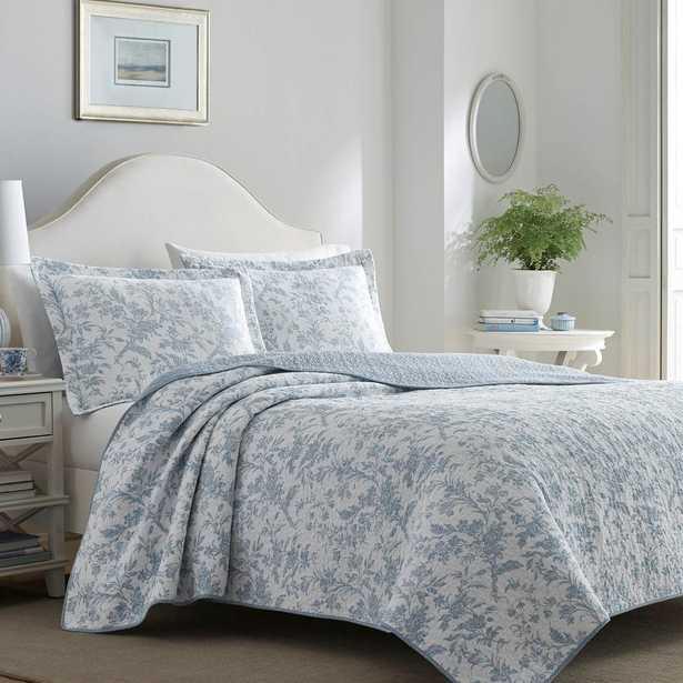 Amberley 3-Piece Blue Full/Queen Quilt Set, Soft Blue - Home Depot