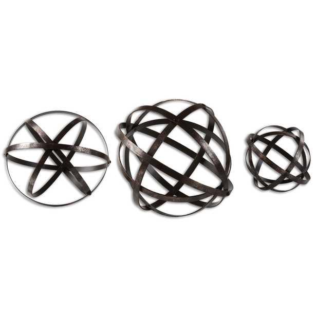 Jetson Industrial Loft Bronze Metal Spheres Decor - Set of 3 - Kathy Kuo Home