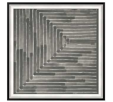 "Neutral Labyrinth Framed Print, 46 x 46"" - Pottery Barn"