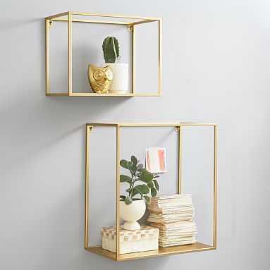 Open Cube Shelves, Set of 2, Gold - Pottery Barn Teen