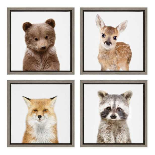"""Sylvie """"Woodland Animals"""" by Amy Peterson Framed Canvas Wall Art, Set of 4, Gray - Home Depot"""