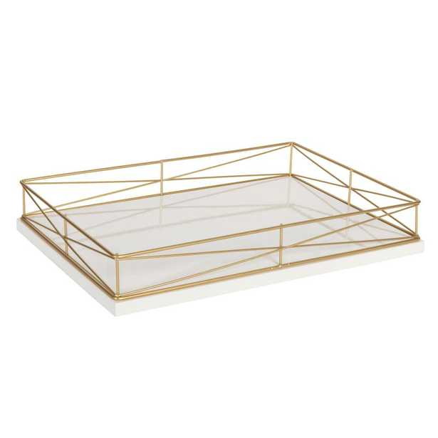 Kate and Laurel Mendel White/Gold Decorative Tray - Home Depot