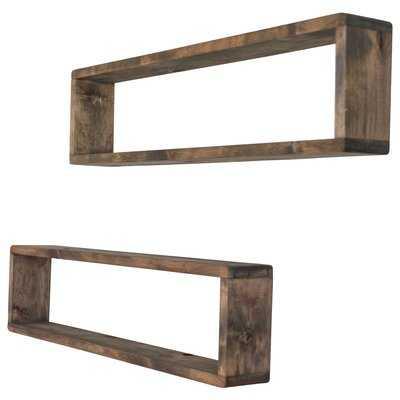 Hampden Stackable Long Box Wall Shelf (Set of 2) - Wayfair
