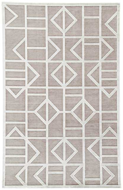 """Cannon Geometric Gray/ White Area Rug (7'6"""" X 9'6"""") - Collective Weavers"""