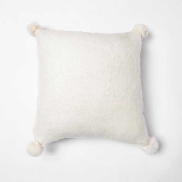 White Rabbit Fur Pom Pom Wool Pillow - Home Depot
