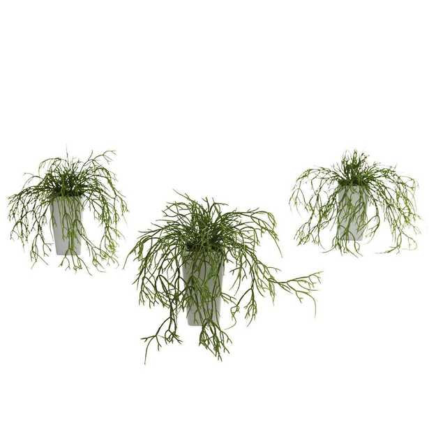 Wild Grass with White Vase (Set of 3) - Home Depot