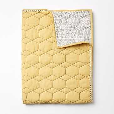 Honeycomb Toddler Quilt, Horseradish - West Elm
