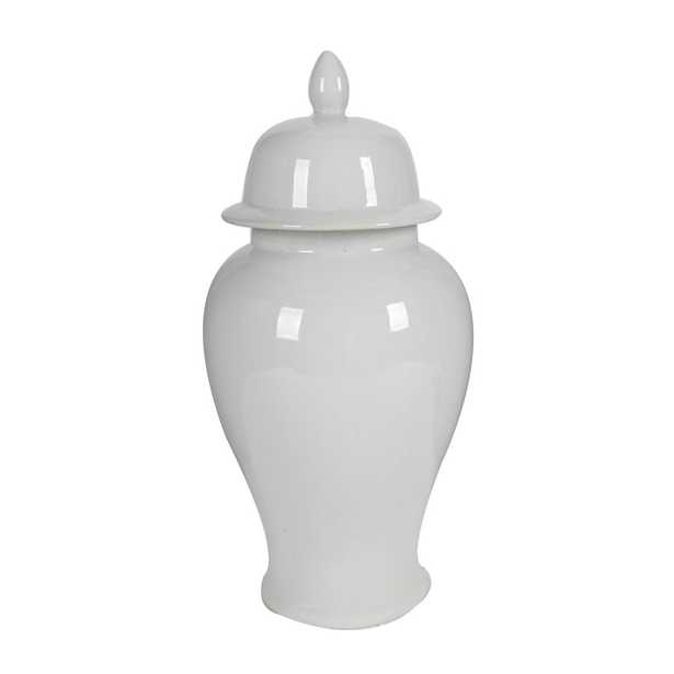 A & B Home Gloss White Large Seaford Ginger Jar - Home Depot