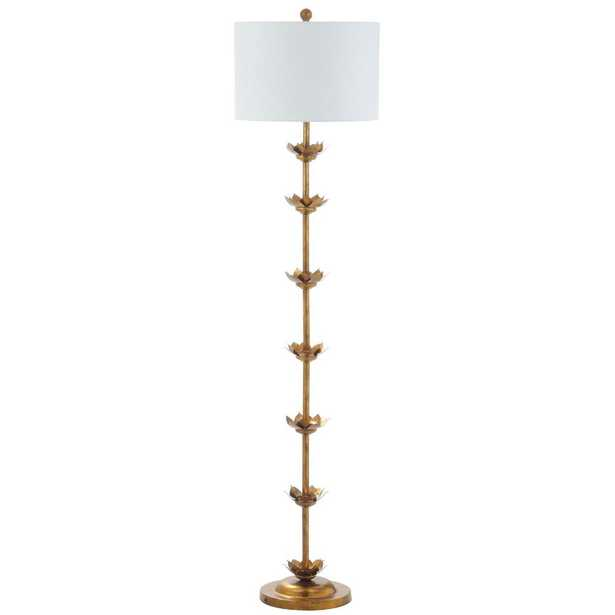 Safavieh Landen Leaf 63.5 in. Antique Gold Floor Lamp with Off White Shade - Home Depot