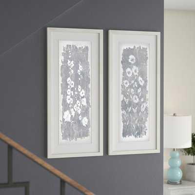 'Fields of Silver' 2 Piece Framed Acrylic Painting Print Set - Wayfair