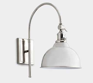 PB Classic Metal Bell Hood, Nickel Bell Hood with Nickel Classic Arc Sconce - Pottery Barn