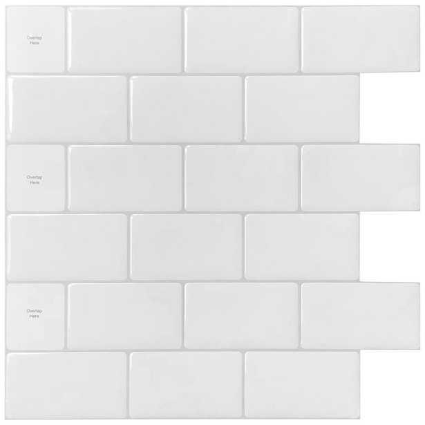 LONGKING 12 in. x 12 in. White Vinyl Subway Peel and Stick Decorative Wall Tile Backsplash (10-Pack), Lka2300 - Home Depot