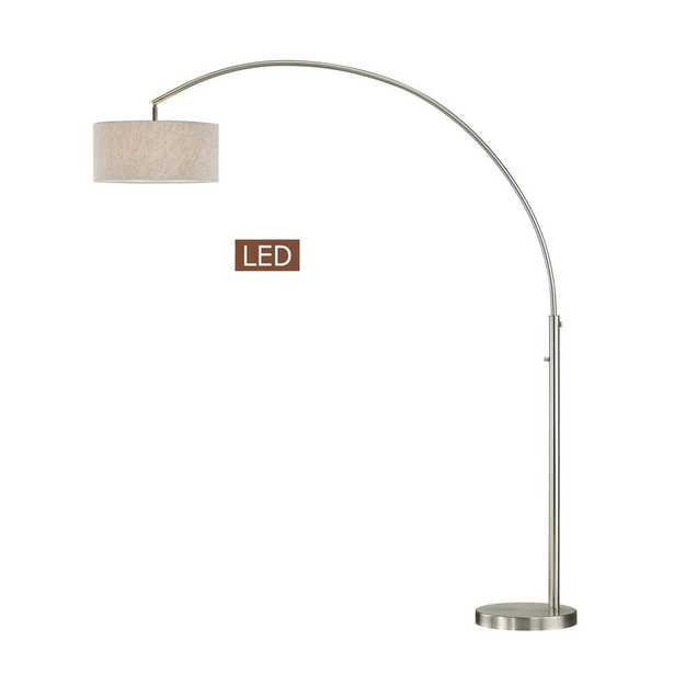 ARTIVA Elena 80 in. Brushed Nickel LED Arch Floor Lamp with Dimmer - Home Depot