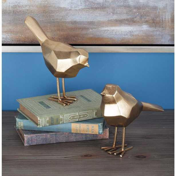Geometric Bird Decorative Sculptures in Gold (Set of 2) - Home Depot