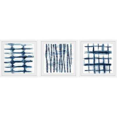 'Indigo Study VII Triptych' 3 Piece Framed Watercolor Painting Print Set - Wayfair