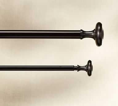 "Vintage Drape Rod & Wall Bracket, 1.25"" diam., Medium, Oil-Rubbed Bronze Finish - Pottery Barn"