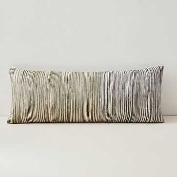 """Silk Ombre Striations Bolster Pillow Cover, 14""""x36"""", Midnight - West Elm"""