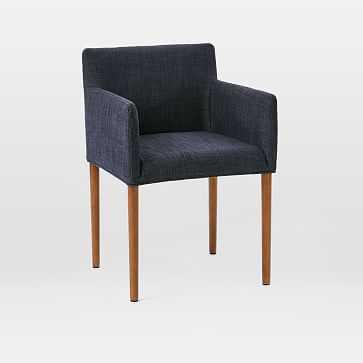 Ellis Upholstered Arm Chair, Yarn Dyed Linen Weave, Indigo, Pecan - West Elm