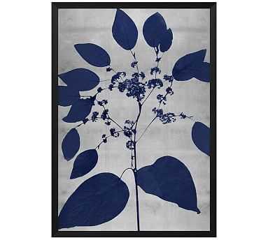 """Indigo Silver Leaf 3 Framed Print, 20 x 28"""" - Pottery Barn"""