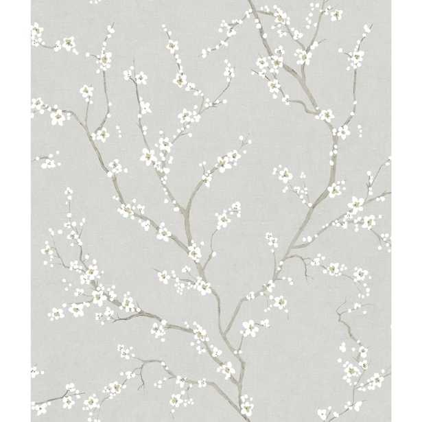 York Wallcoverings Grey Cherry Blossom Peel and Stick Wallpaper - Home Depot