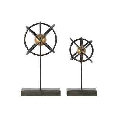 Metal Atom Table Top Decor 2 Piece Sculpture Set - Wayfair