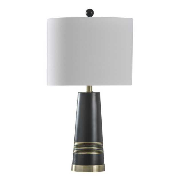 StyleCraft 24.75 in. Antique Brass Table Lamp with Brussels White Hardback Fabric Shade - Home Depot