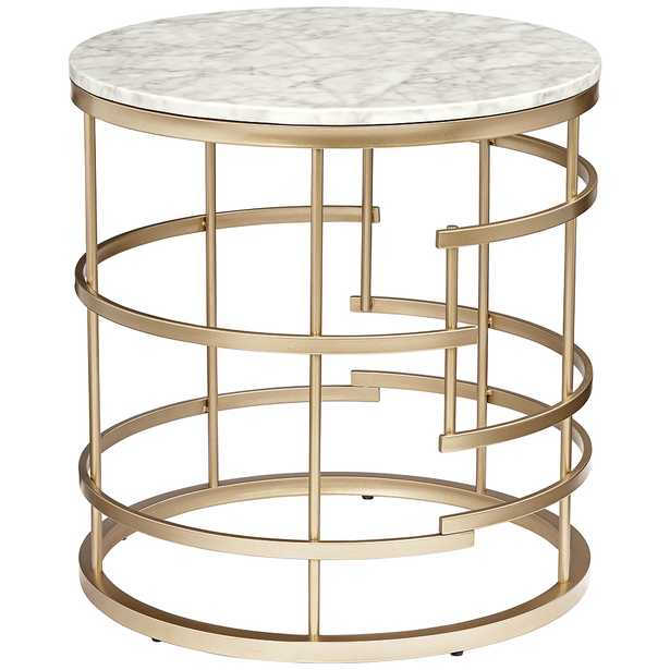 Brassica Faux Marble Top Gold End Table - Style # 46M33 - Lamps Plus