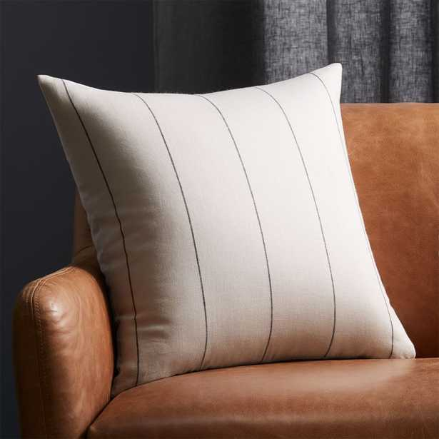 """20"""" Pinstripe White Linen Pillow with Feather-Down Insert - CB2"""