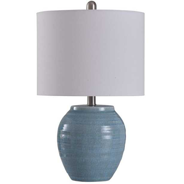 StyleCraft 20.5 in. Light Blue Crackle Table Lamp with Frosted White Hardback Fabric Shade - Home Depot