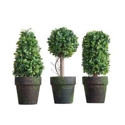 3 Piece Faux Topiary in Pot Set - Wayfair