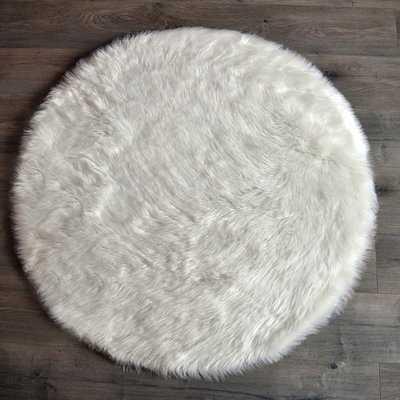 "Mullikin Faux Fur White Area Rug /  3'6"" x 3'6"" - Wayfair"
