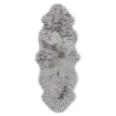Double Sheepskin Rug, 2'x6', Light Gray - Pottery Barn Teen