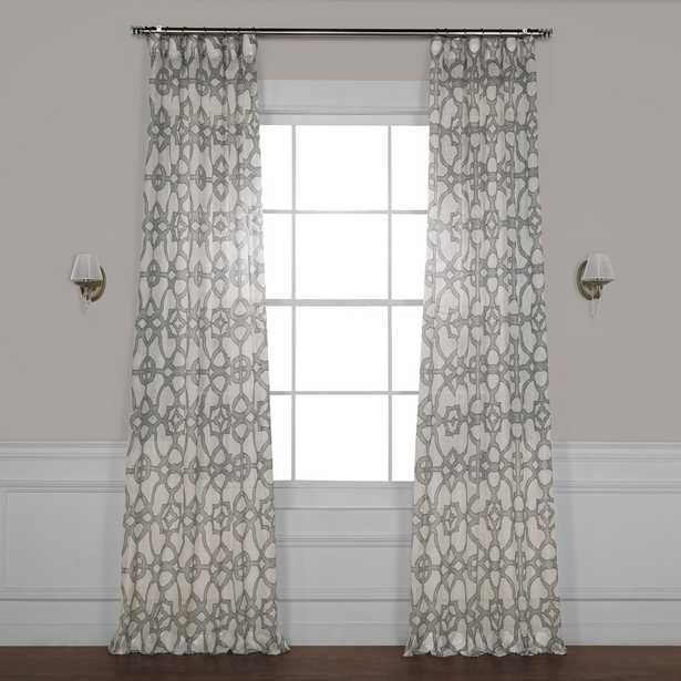 Exclusive Fabrics & Furnishings SeaGlass Grey Printed Sheer Curtain - 50 in. W x 108 in. L - Home Depot