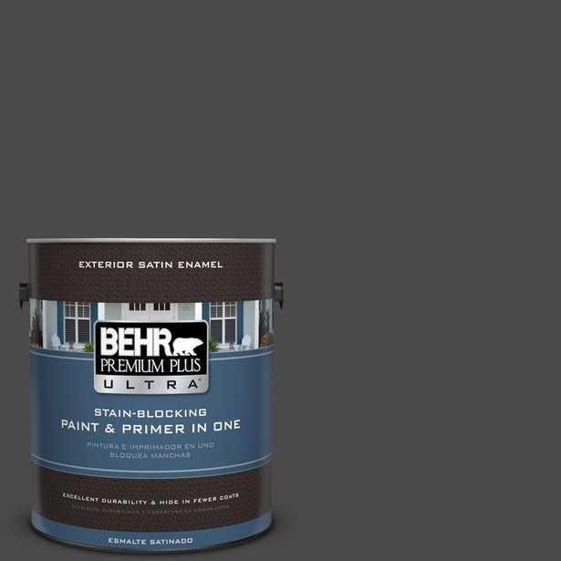 BEHR Premium Plus Ultra 1-gal. #N530-7 Private Black Satin Enamel Exterior Paint, Blacks - Home Depot
