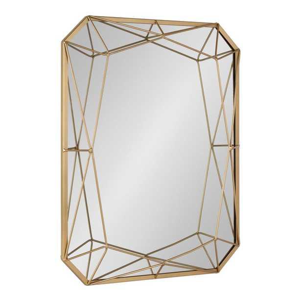 Keyleigh Rectangle Gold Metal Wall Mirror - Home Depot