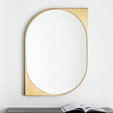 Cateye Metal Wall Mirror, Antique Brass - West Elm