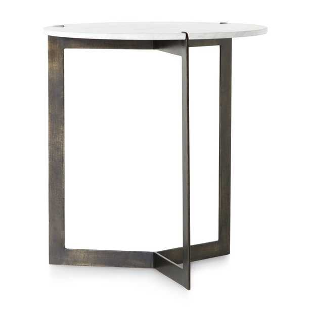 """Kace White Marble End Table 20""""Wx20""""Dx22""""H - Crate and Barrel"""