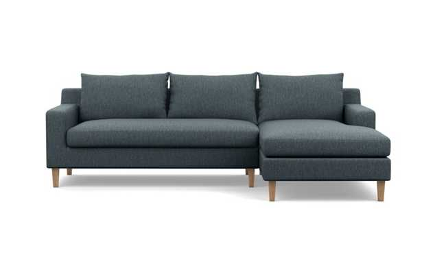 Sloan Right Sectional with Blue Rain Fabric and Natural Oak legs - Interior Define